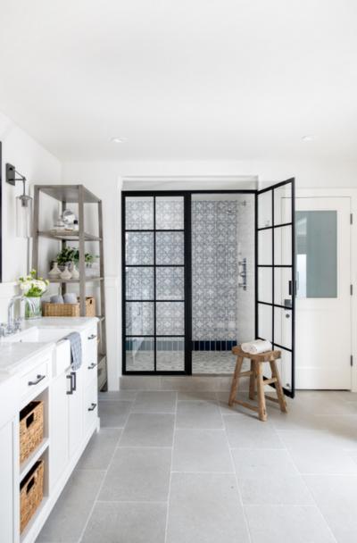 black-framed-gridscape-industrial-shower-door-ideas